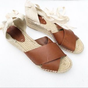 Soludos Leather Espadrille Wedge Tie Up Sandal 10